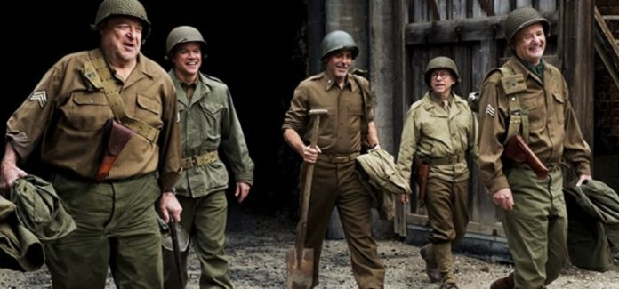 George Clooney, Bill Murray, Matt Damon, John Goodman, and Bob Balaban in The Monuments Men 2014