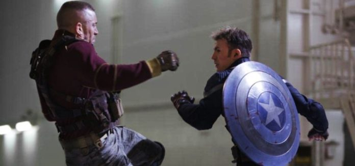 Chris Evans and Georges St-Pierre in Captain America: The Winter Soldier (2014)