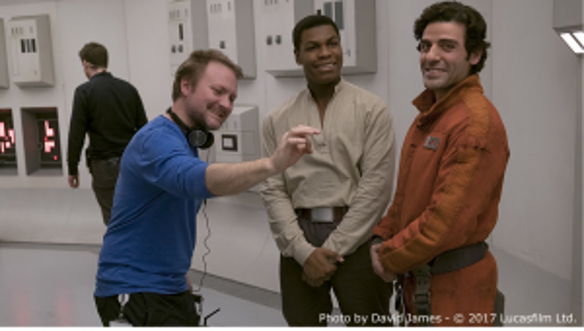 Rian Johnson, John Boyega and Oscar Isaac